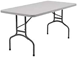 PLASTIC WHITE FOLDING TABLES (6\' feet long)