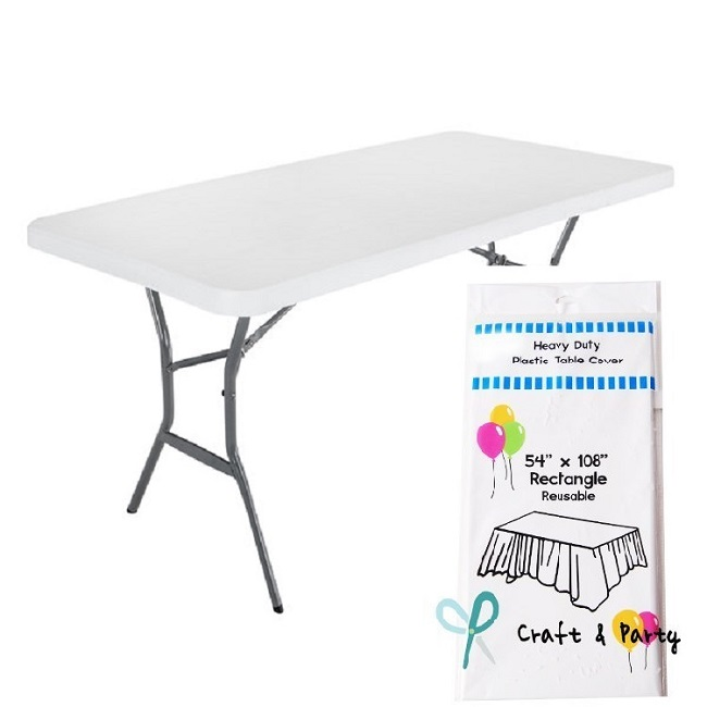 PLASTIC WHITE FOLDING TABLES (add on only, NOT to deliver alone)
