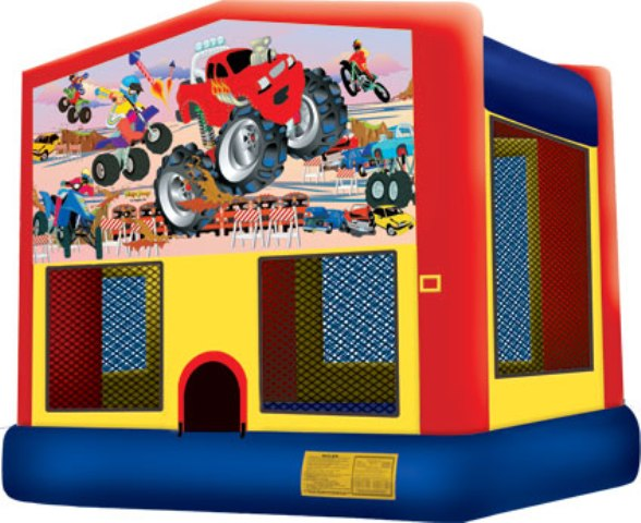 MONSTER TRUCK 2 IN 1 BOUNCE HOUSE (basketball hoop included)