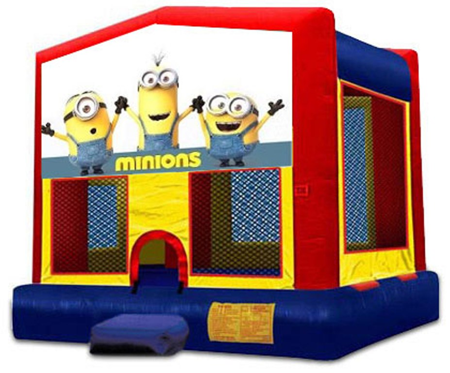 AWESOME MINIONS 2 IN 1 MODULE JUMPER (basketball hoop included)